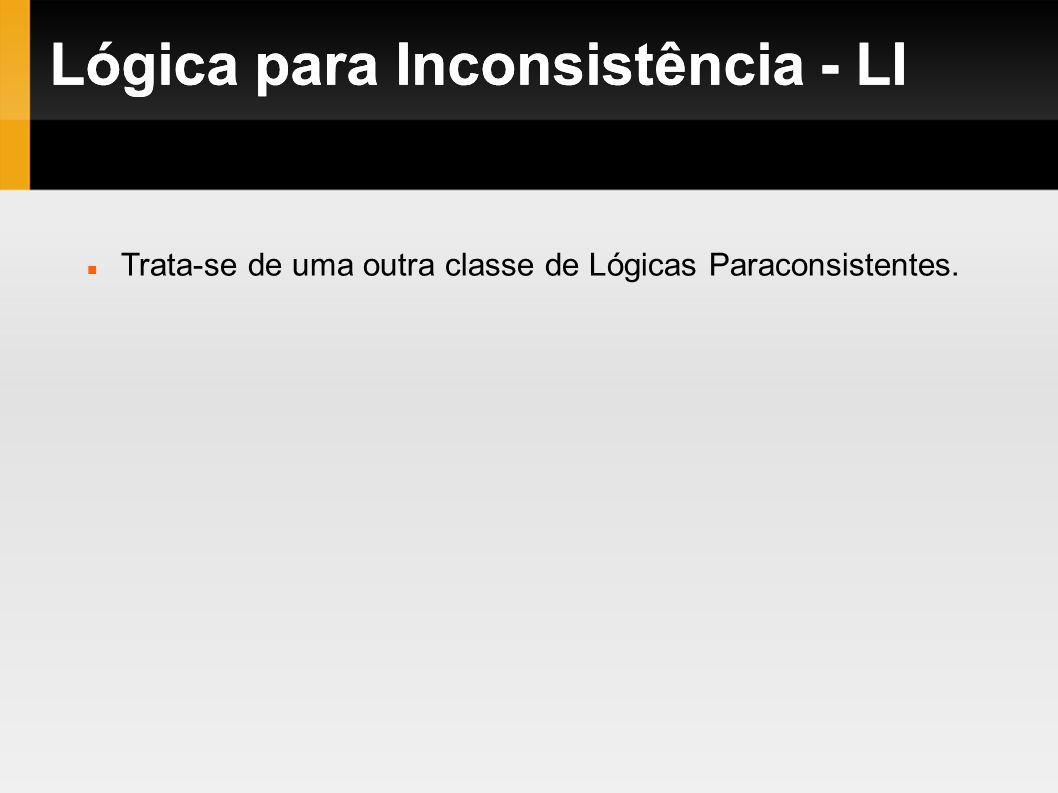 Lógica para Inconsistência - LI Trata-se de uma outra classe de Lógicas Paraconsistentes. Lógica para Inconsistência - LI
