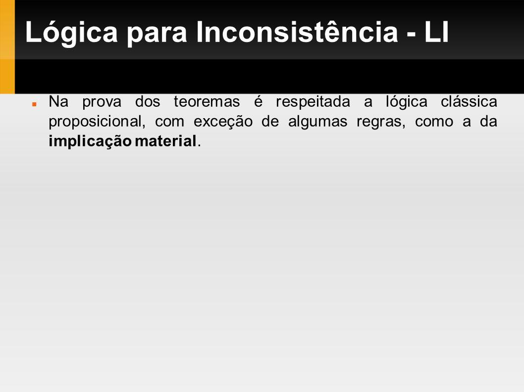 Lógica para Inconsistência - LI Na prova dos teoremas é respeitada a lógica clássica proposicional, com exceção de algumas regras, como a da implicaçã