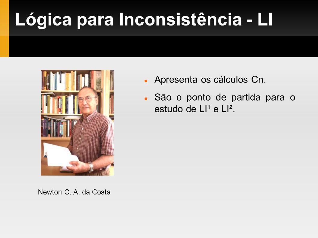 Lógica para Inconsistência - LI Newton C. A. da Costa Apresenta os cálculos Cn. São o ponto de partida para o estudo de LI¹ e LI².