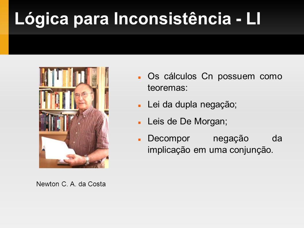 Lógica para Inconsistência - LI Os cálculos Cn possuem como teoremas: Lei da dupla negação; Leis de De Morgan; Decompor negação da implicação em uma c