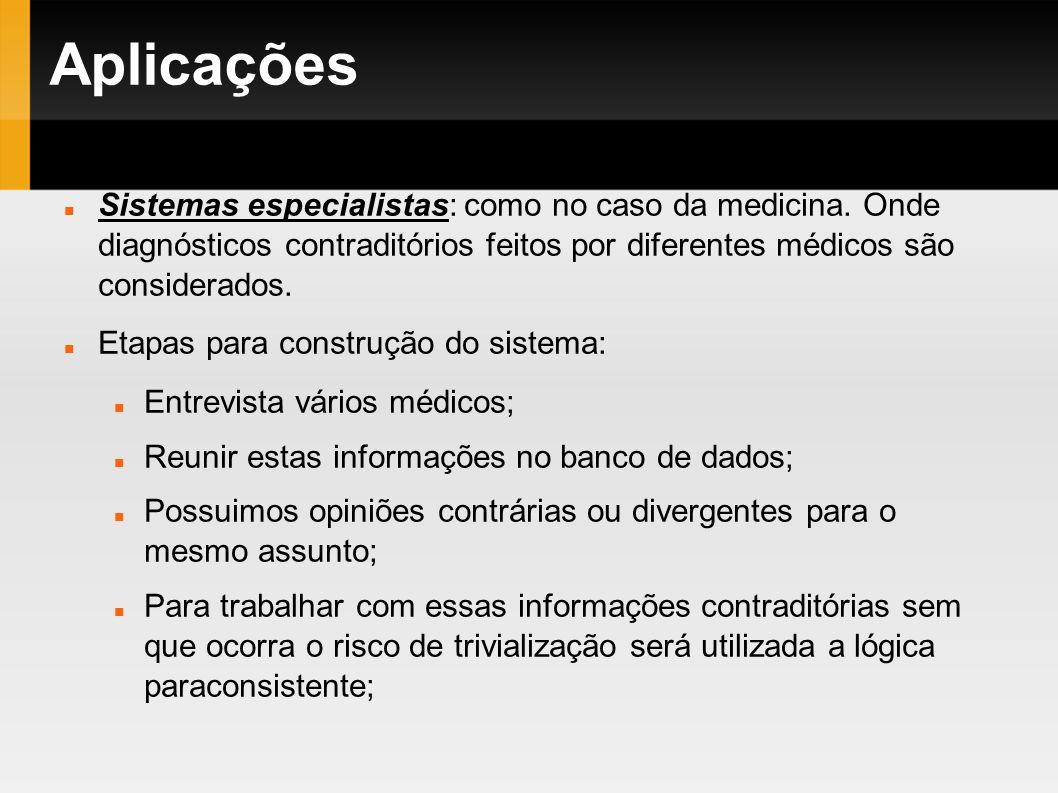 Aplicações Sistemas especialistas: como no caso da medicina. Onde diagnósticos contraditórios feitos por diferentes médicos são considerados. Etapas p