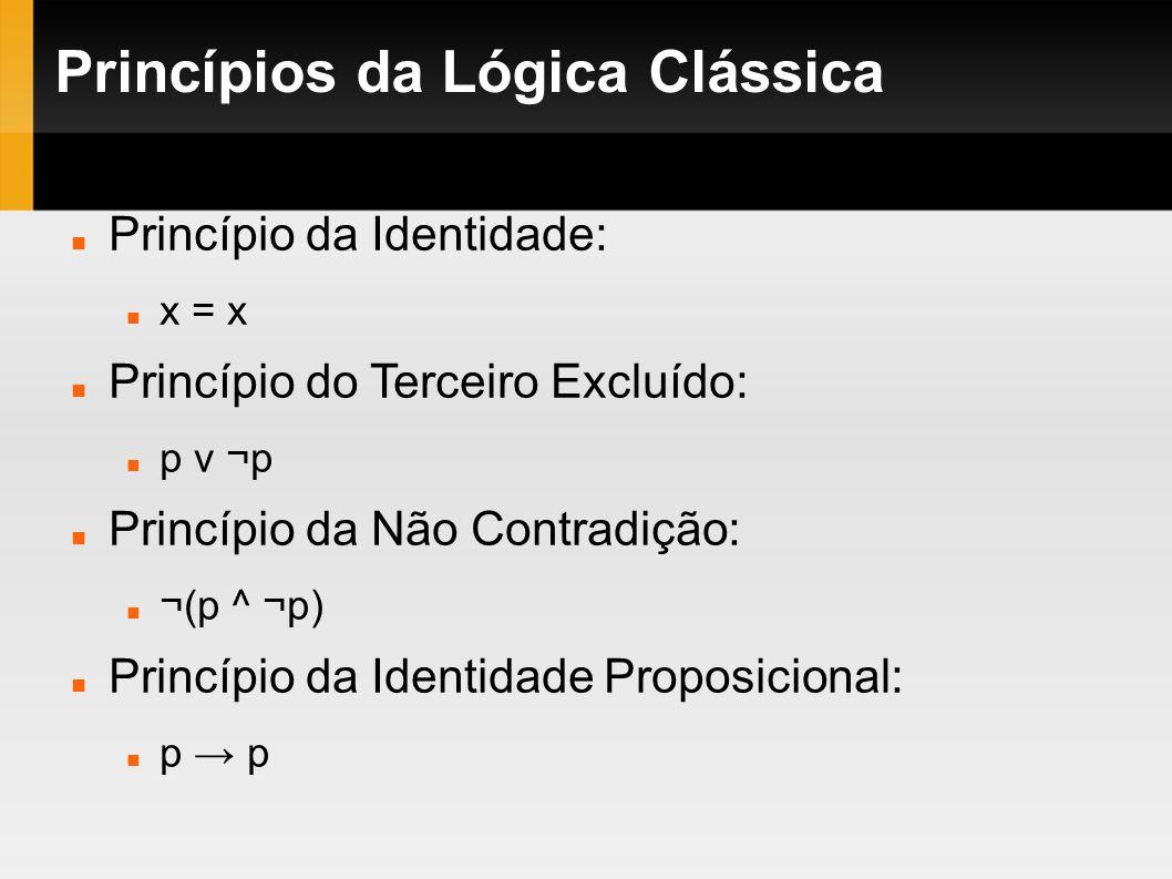 Princípios da Lógica Clássica Princípio da Identidade: x = x Princípio do Terceiro Excluído: p v ¬p Princípio da Não Contradição: ¬(p ^ ¬p) Princípio