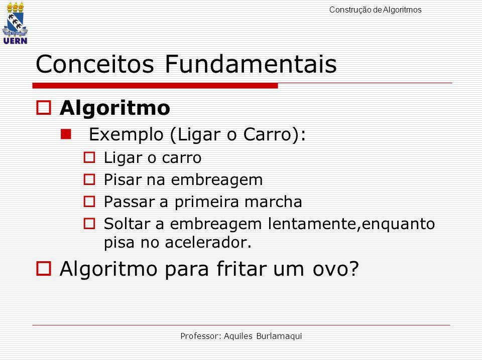 Construção de Algoritmos Professor: Aquiles Burlamaqui Conceitos Fundamentais Algoritmo Exemplo (Ligar o Carro): Ligar o carro Pisar na embreagem Pass
