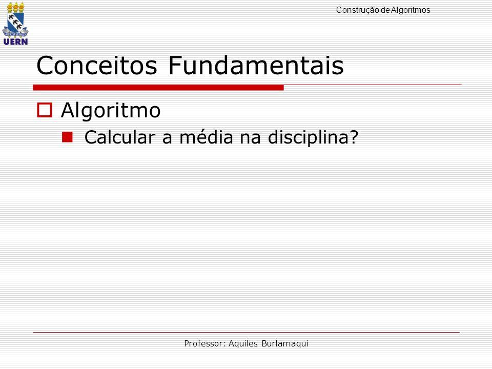 Construção de Algoritmos Professor: Aquiles Burlamaqui Conceitos Fundamentais Algoritmo Calcular a média na disciplina?