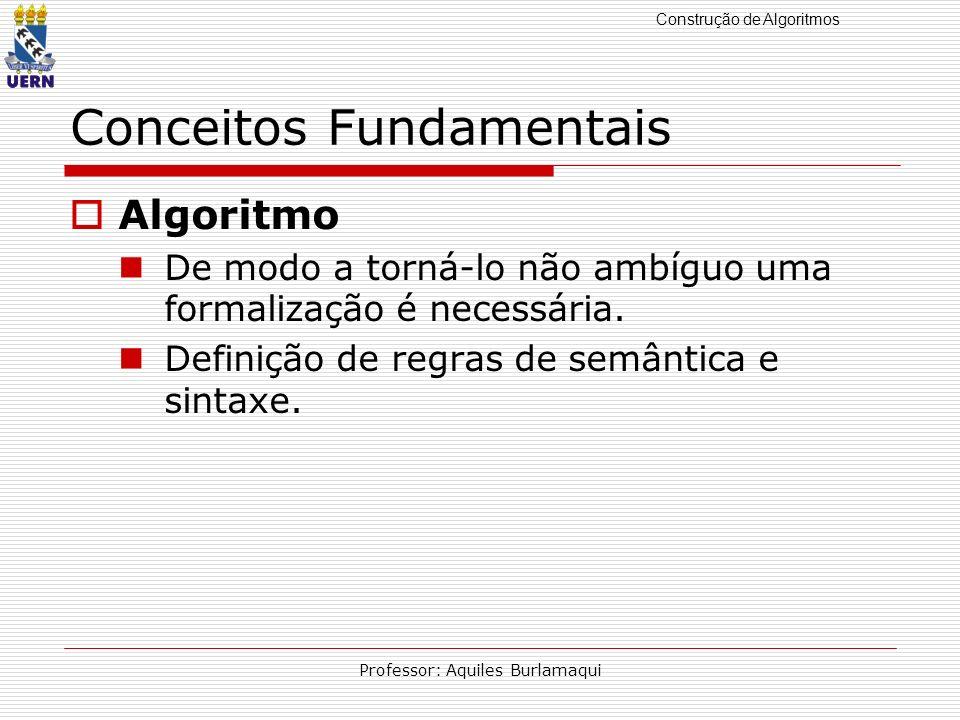 Construção de Algoritmos Professor: Aquiles Burlamaqui Conceitos Fundamentais Algoritmo De modo a torná-lo não ambíguo uma formalização é necessária.