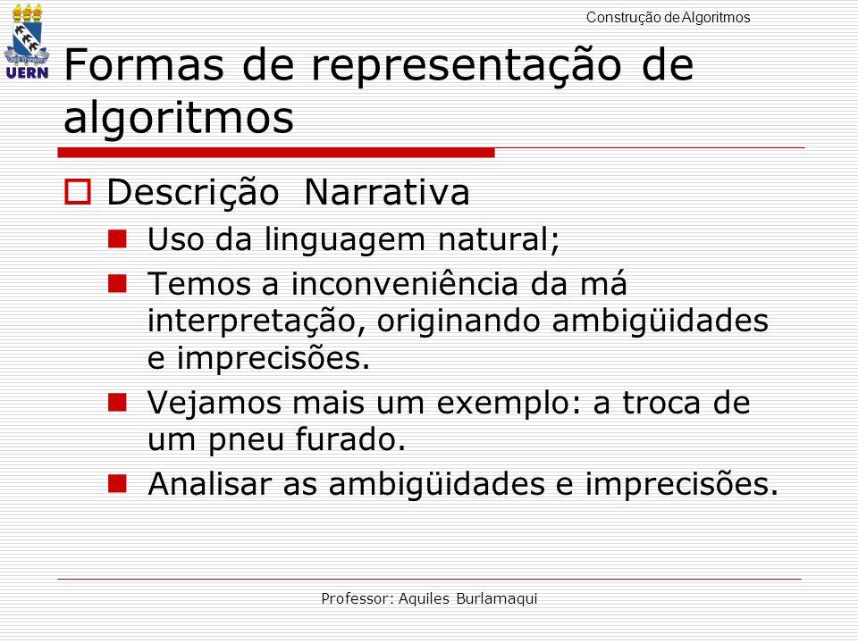 Construção de Algoritmos Professor: Aquiles Burlamaqui Formas de representação de algoritmos Descrição Narrativa Uso da linguagem natural; Temos a inc