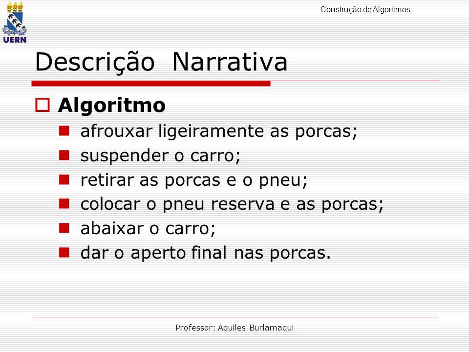 Construção de Algoritmos Professor: Aquiles Burlamaqui Descrição Narrativa Algoritmo afrouxar ligeiramente as porcas; suspender o carro; retirar as po