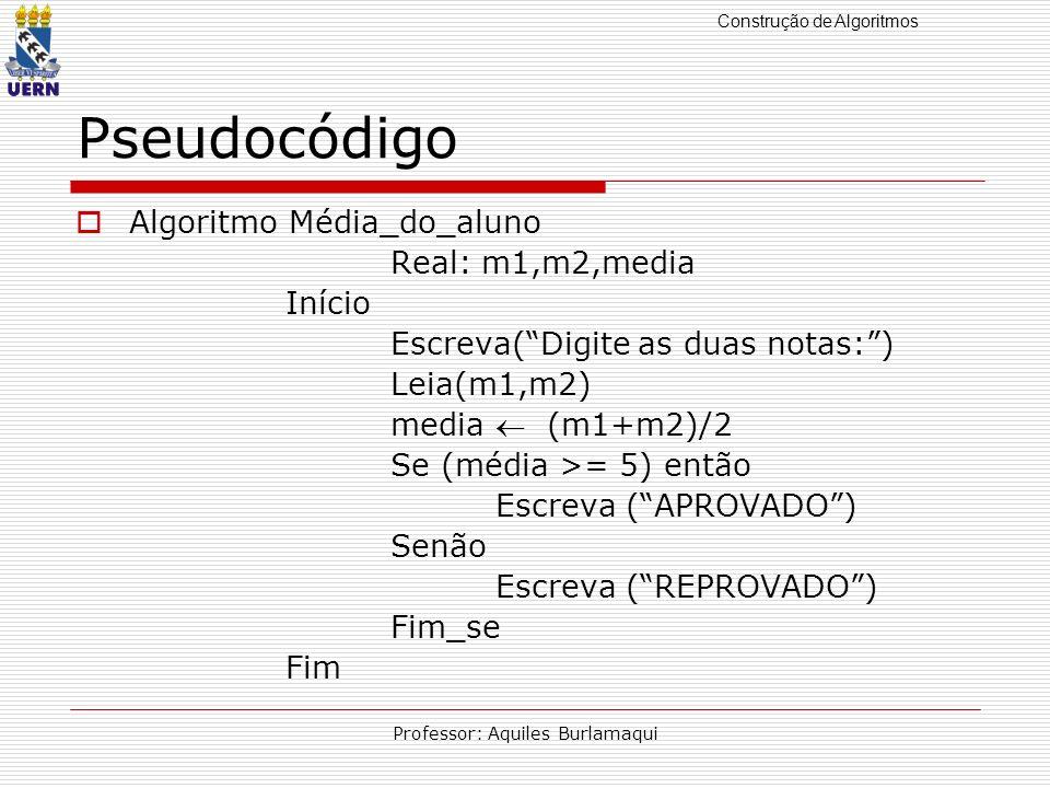 Construção de Algoritmos Professor: Aquiles Burlamaqui Pseudocódigo Algoritmo Média_do_aluno Real: m1,m2,media Início Escreva(Digite as duas notas:) L