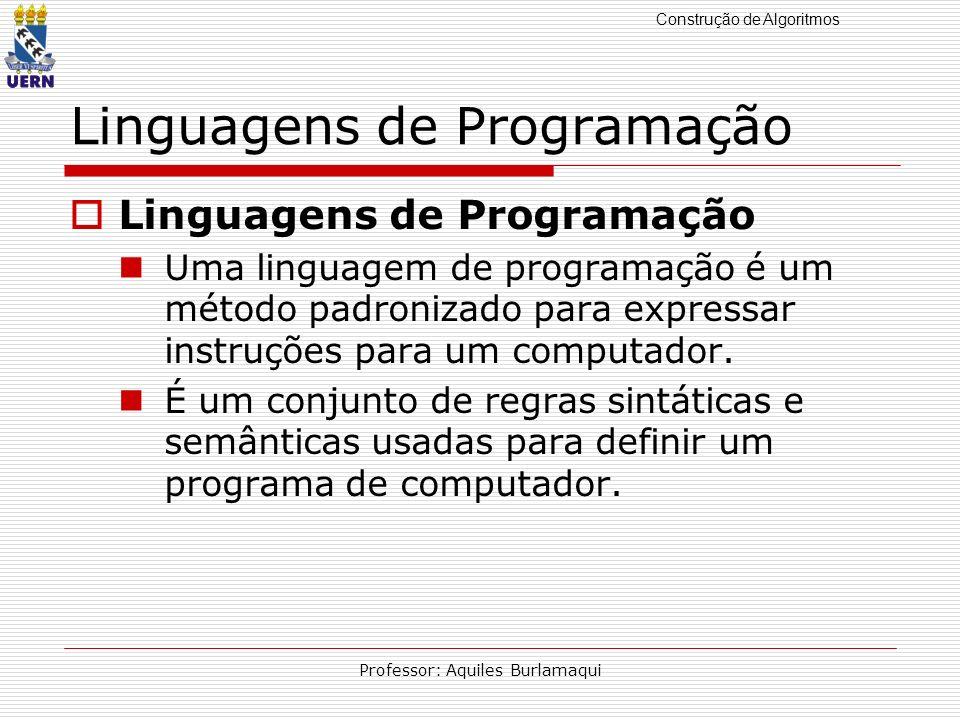Construção de Algoritmos Professor: Aquiles Burlamaqui Linguagens de Programação Uma linguagem de programação é um método padronizado para expressar i