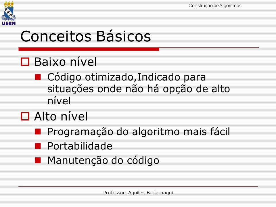 Construção de Algoritmos Professor: Aquiles Burlamaqui Conceitos Básicos Baixo nível Código otimizado,Indicado para situações onde não há opção de alt