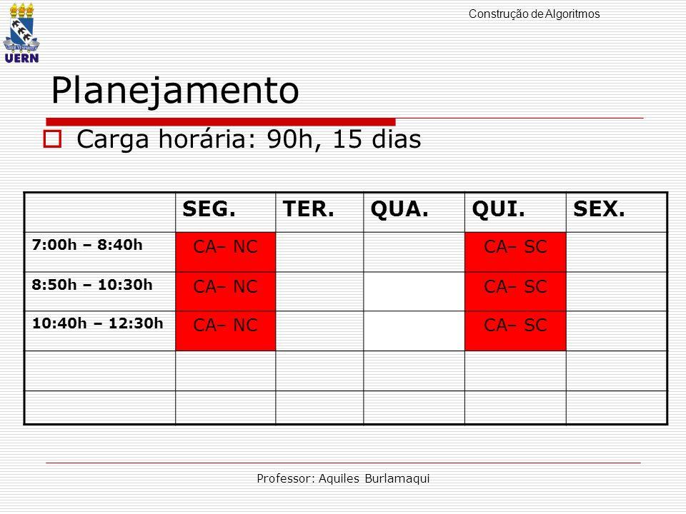 Construção de Algoritmos Professor: Aquiles Burlamaqui Planejamento Carga horária: 90h, 15 dias SEG.TER.QUA.QUI.SEX. 7:00h – 8:40h CA– NCCA– SC 8:50h