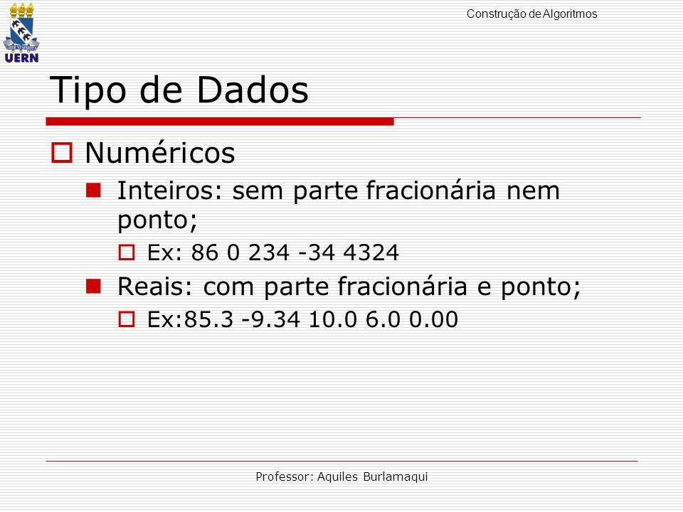 Construção de Algoritmos Professor: Aquiles Burlamaqui Tipo de Dados Numéricos Inteiros: sem parte fracionária nem ponto; Ex: 86 0 234 -34 4324 Reais: