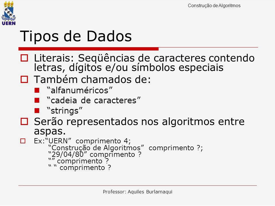 Construção de Algoritmos Professor: Aquiles Burlamaqui Tipos de Dados Literais: Seqüências de caracteres contendo letras, dígitos e/ou símbolos especi