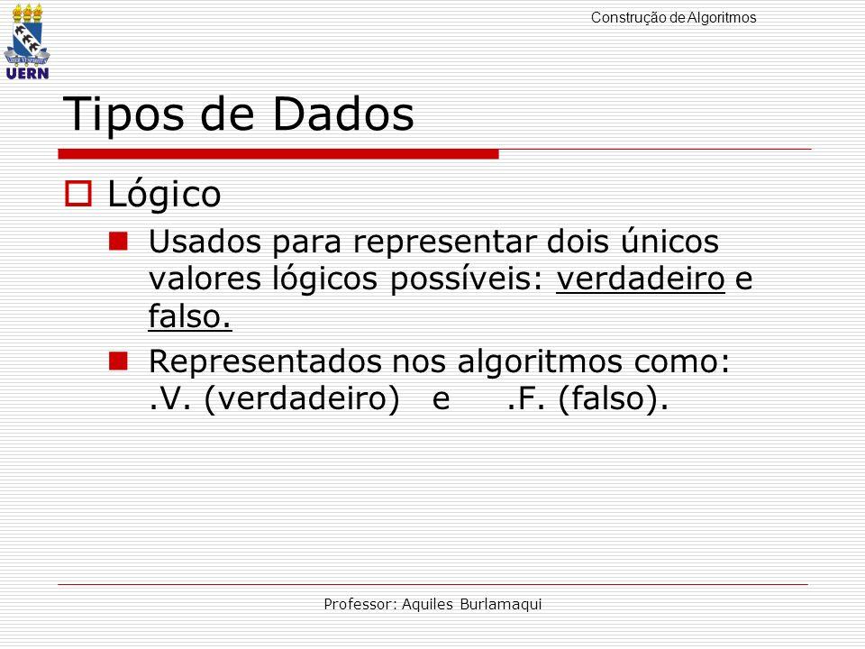 Construção de Algoritmos Professor: Aquiles Burlamaqui Tipos de Dados Lógico Usados para representar dois únicos valores lógicos possíveis: verdadeiro