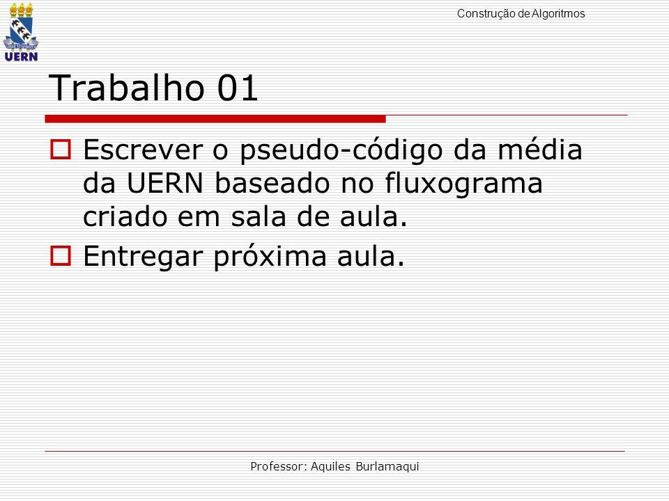 Construção de Algoritmos Professor: Aquiles Burlamaqui Trabalho 01 Escrever o pseudo-código da média da UERN baseado no fluxograma criado em sala de a