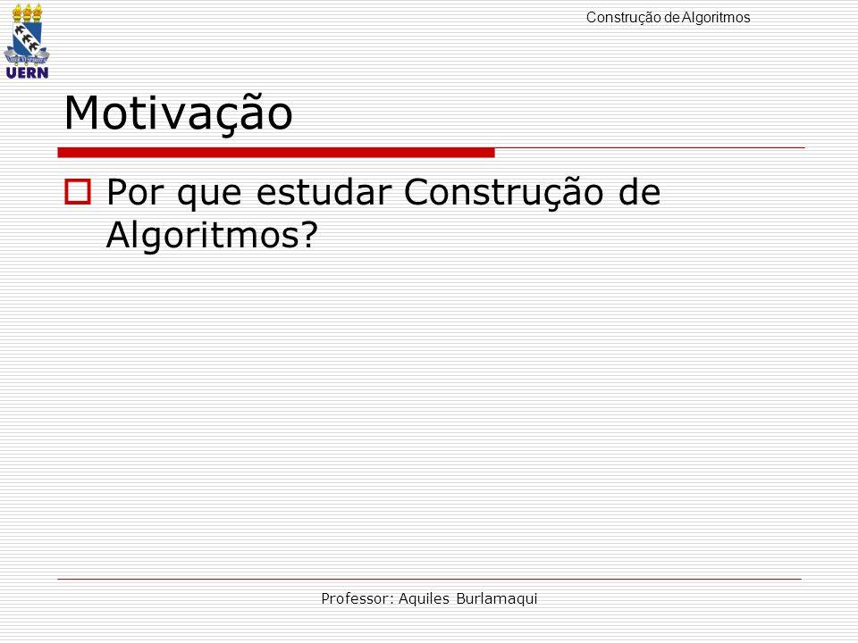 Construção de Algoritmos Professor: Aquiles Burlamaqui Formas de representação de algoritmos Descrição Narrativa Fluxograma Pseudocódigo Linguagens de Programação