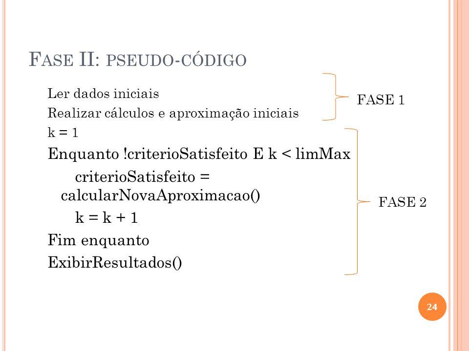 F ASE II: PSEUDO - CÓDIGO Ler dados iniciais Realizar cálculos e aproximação iniciais k = 1 Enquanto !criterioSatisfeito E k < limMax criterioSatisfei