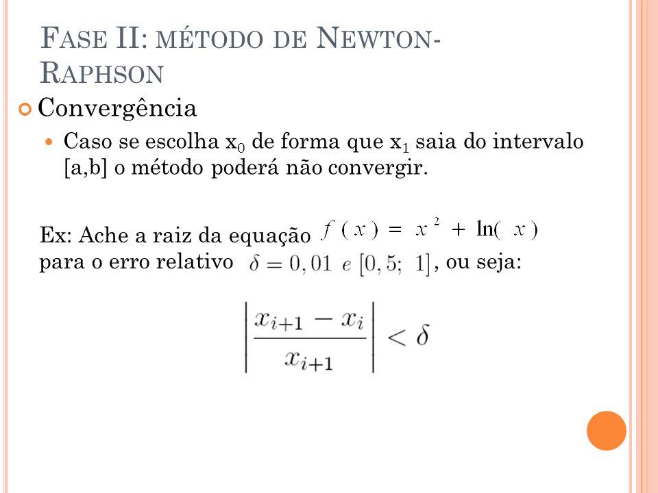 Convergência Caso se escolha x 0 de forma que x 1 saia do intervalo [a,b] o método poderá não convergir. Ex: Ache a raiz da equação para o erro relati