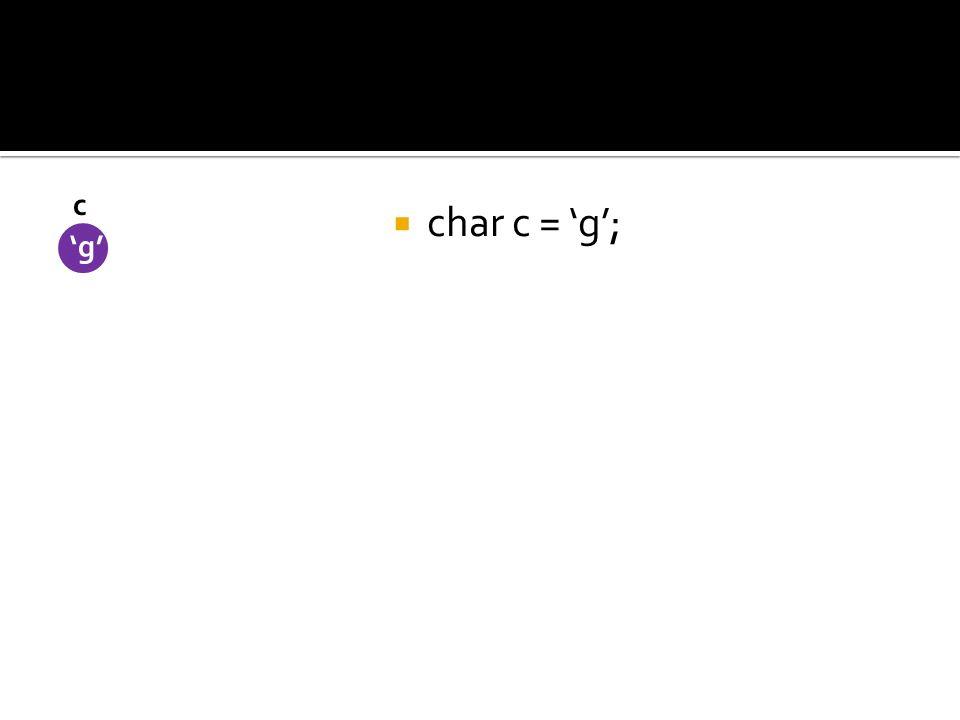 char c = g; c g