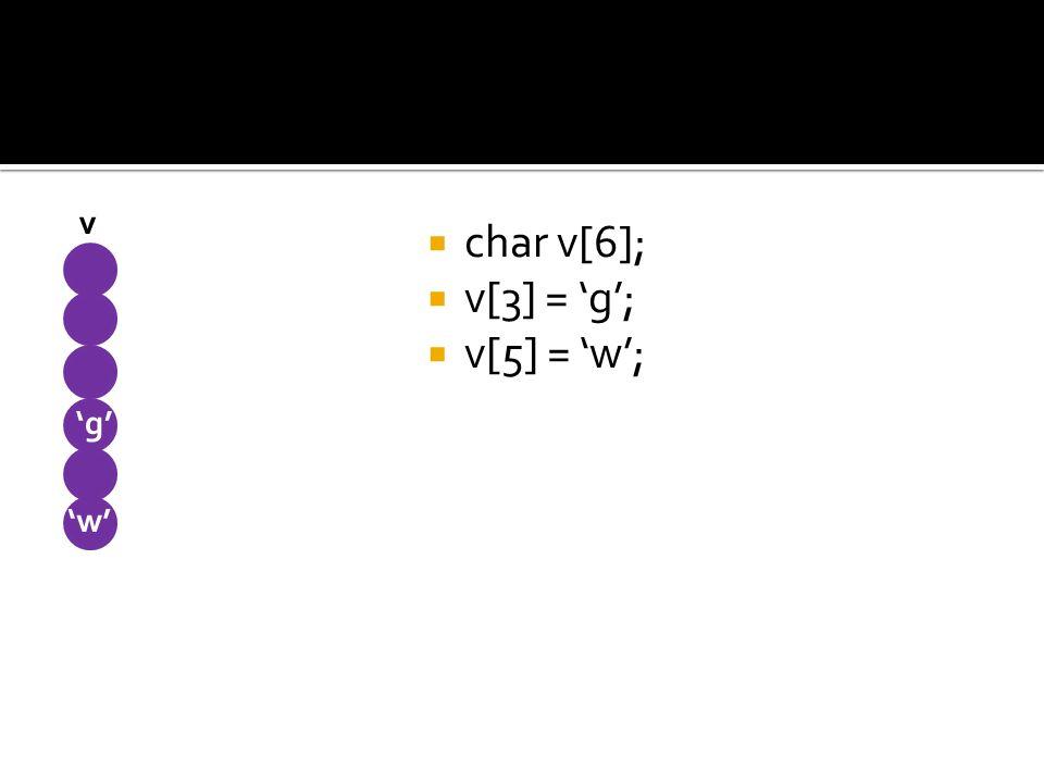char v[6]; v[3] = g; v[5] = w; v g w