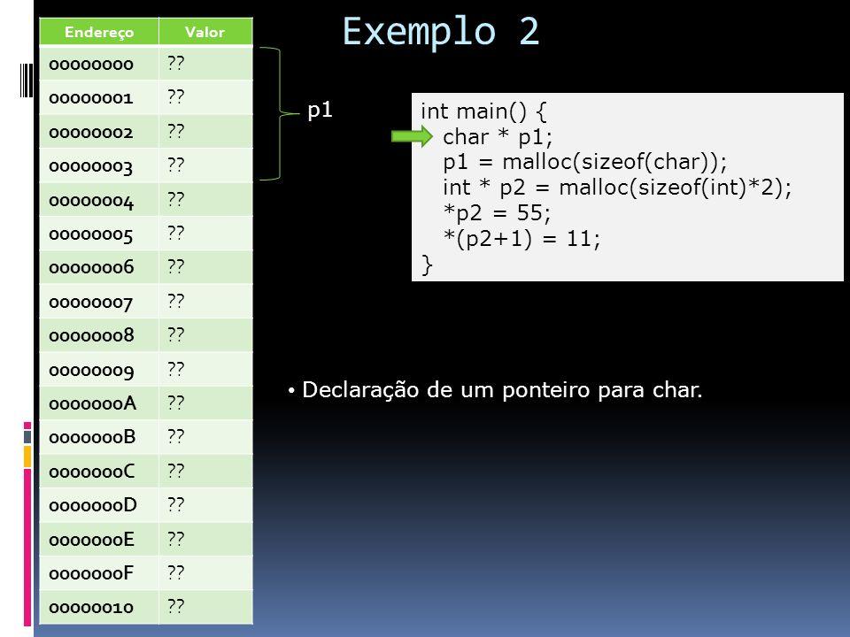 Exemplo 2 int main() { char * p1; p1 = malloc(sizeof(char)); int * p2 = malloc(sizeof(int)*2); *p2 = 55; *(p2+1) = 11; } Declaração de um ponteiro par