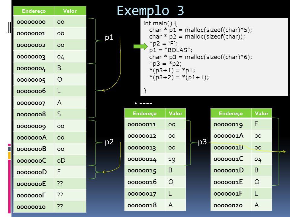 Exemplo 3 int main() { char * p1 = malloc(sizeof(char)*5); char * p2 = malloc(sizeof(char)); *p2 = F; p1 = BOLAS; char * p3 = malloc(sizeof(char)*6);