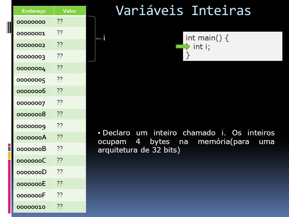 Variáveis Inteiras int main() { int i; } i Declaro um inteiro chamado i. Os inteiros ocupam 4 bytes na memória(para uma arquitetura de 32 bits) Endere