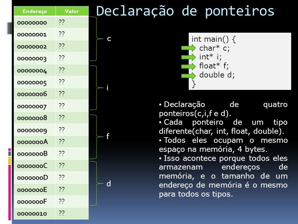 Declaração de ponteiros int main() { char* c; int* i; float* f; double d; } c Declaração de quatro ponteiros(c,i,f e d). Cada ponteiro de um tipo dife