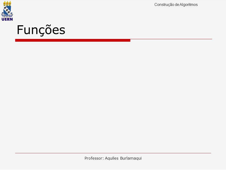 Construção de Algoritmos Professor: Aquiles Burlamaqui Funções