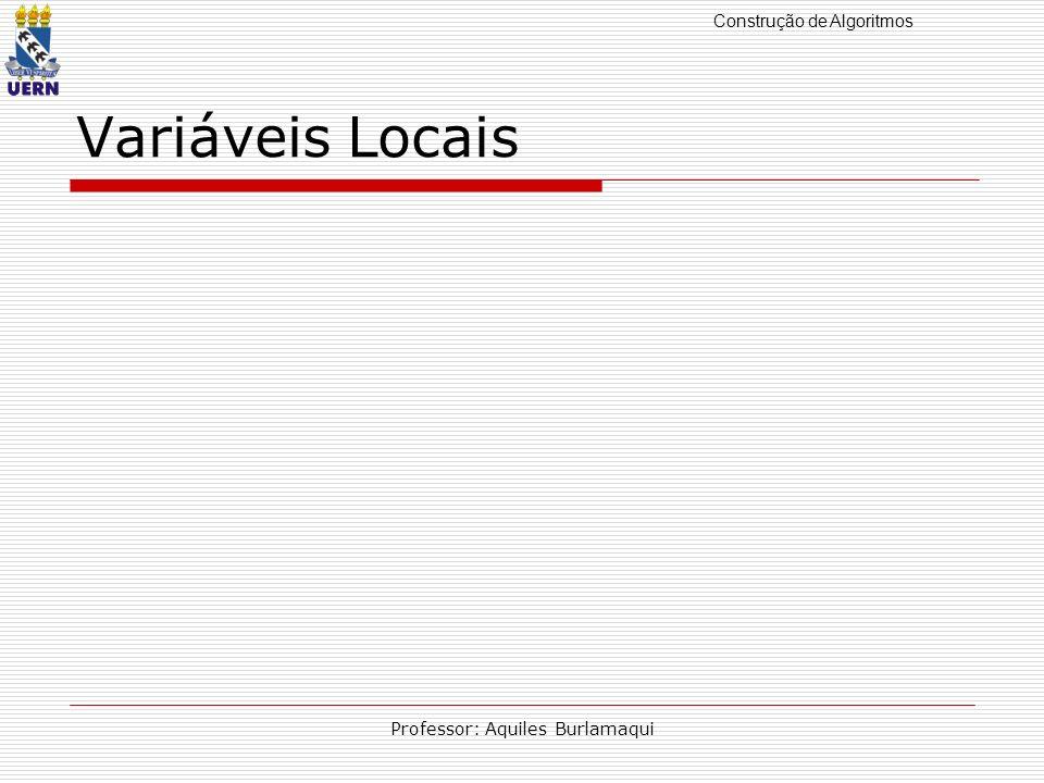Construção de Algoritmos Professor: Aquiles Burlamaqui Variáveis Locais