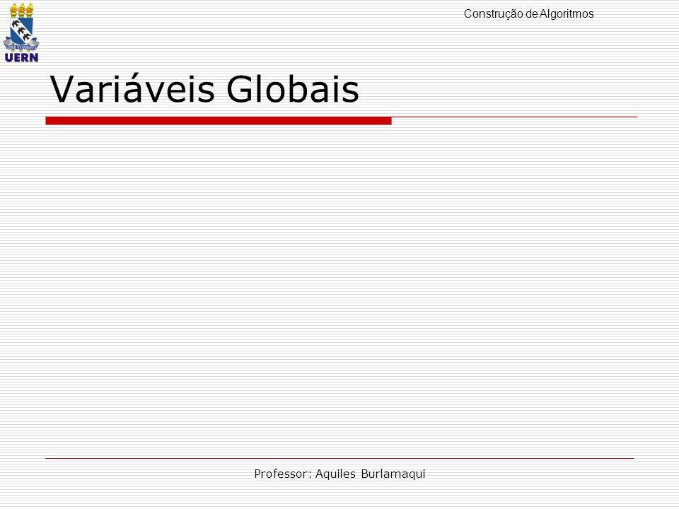 Construção de Algoritmos Professor: Aquiles Burlamaqui Variáveis Globais