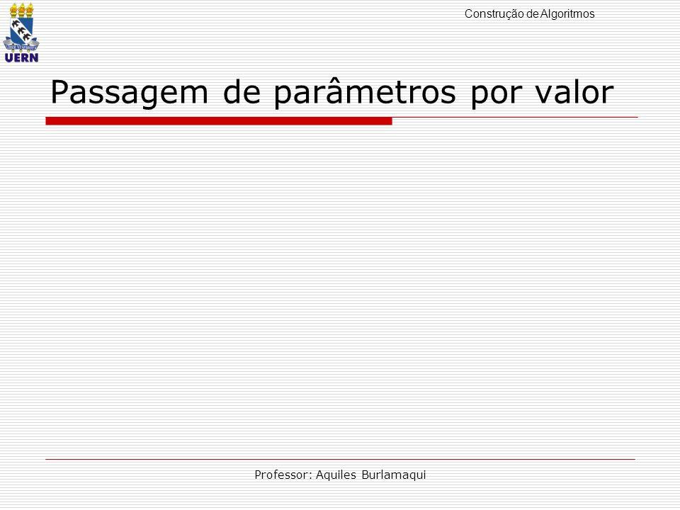 Construção de Algoritmos Professor: Aquiles Burlamaqui Passagem de parâmetros por valor