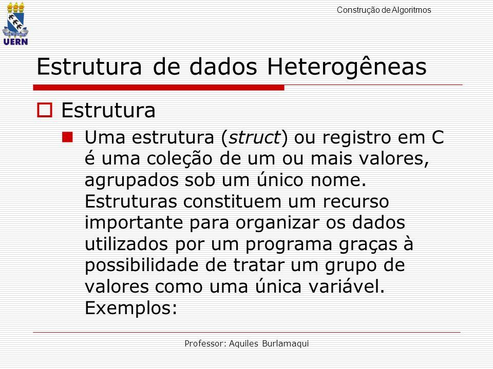 Construção de Algoritmos Professor: Aquiles Burlamaqui Estrutura de dados Heterogêneas Estrutura Uma estrutura (struct) ou registro em C é uma coleção de um ou mais valores, agrupados sob um único nome.