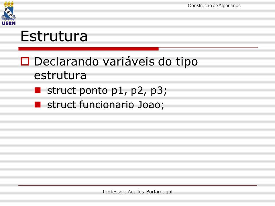 Construção de Algoritmos Professor: Aquiles Burlamaqui Estrutura Declarando variáveis do tipo estrutura struct ponto p1, p2, p3; struct funcionario Joao;