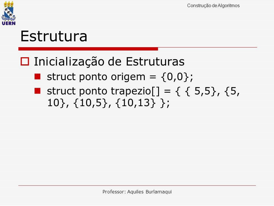 Construção de Algoritmos Professor: Aquiles Burlamaqui Estrutura Inicialização de Estruturas struct ponto origem = {0,0}; struct ponto trapezio[] = {