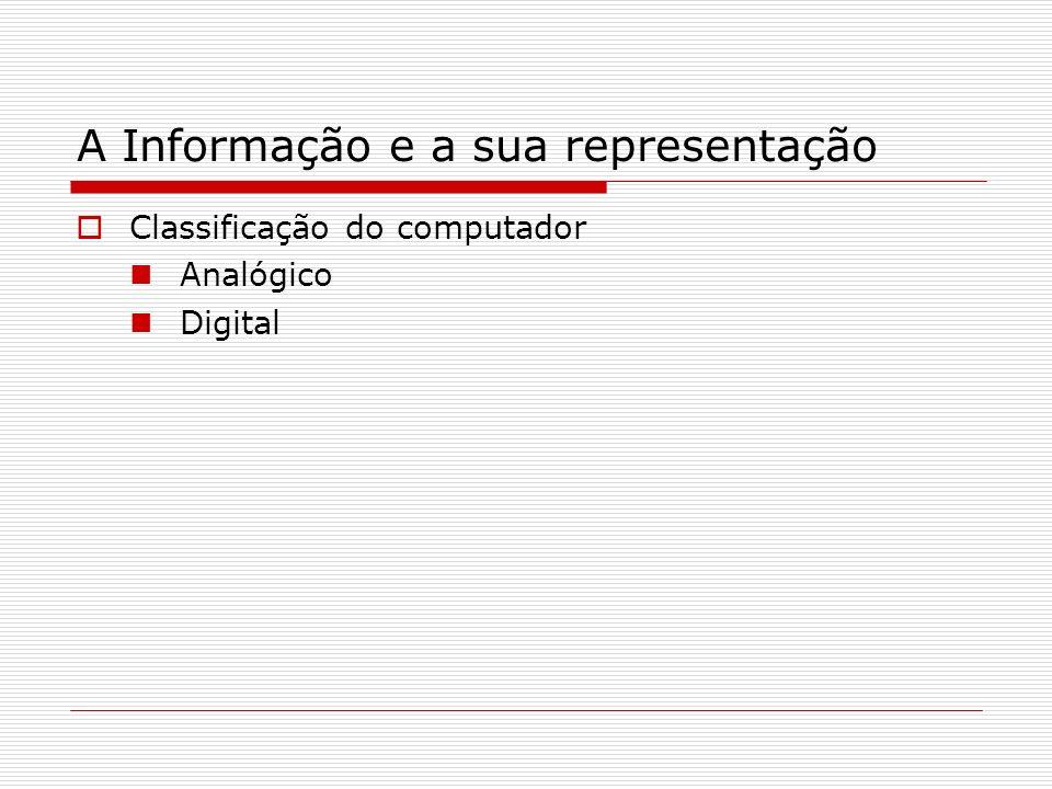 A Informação e a sua representação Classificação do computador Analógico Digital