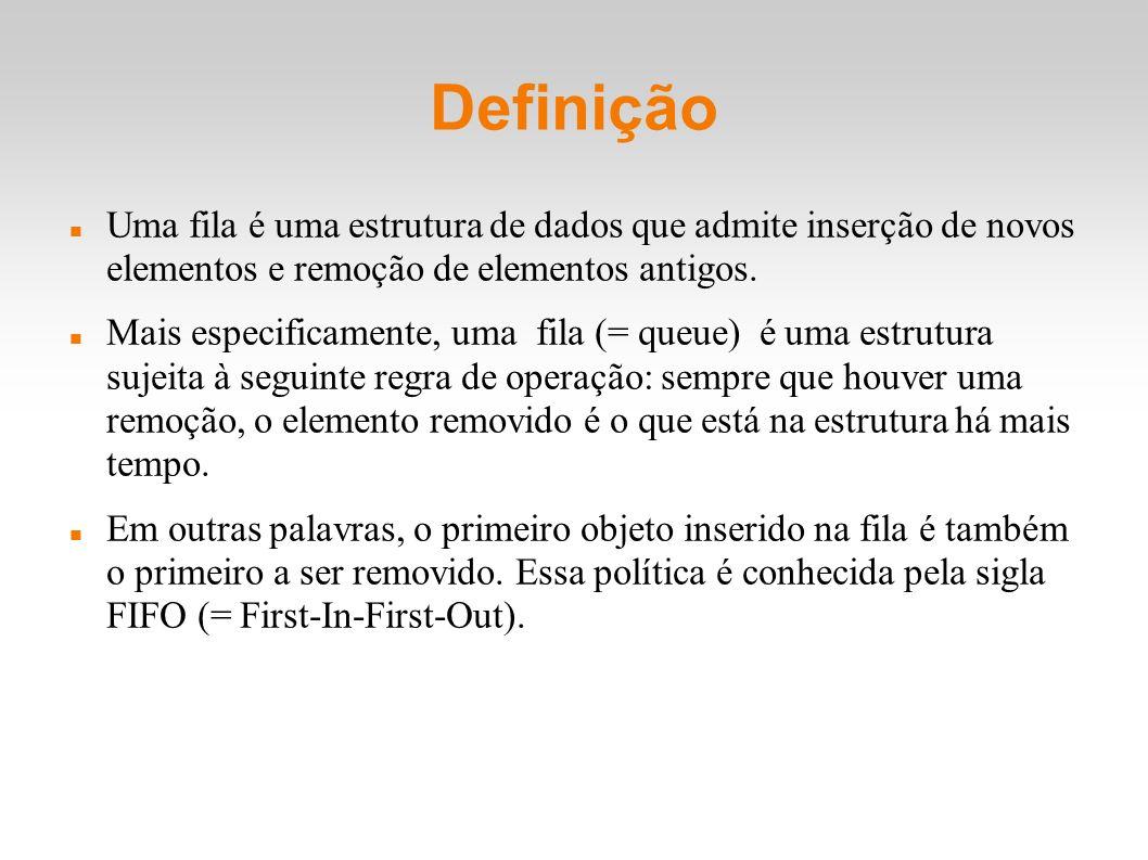 Definição Uma fila é uma estrutura de dados que admite inserção de novos elementos e remoção de elementos antigos. Mais especificamente, uma fila (= q