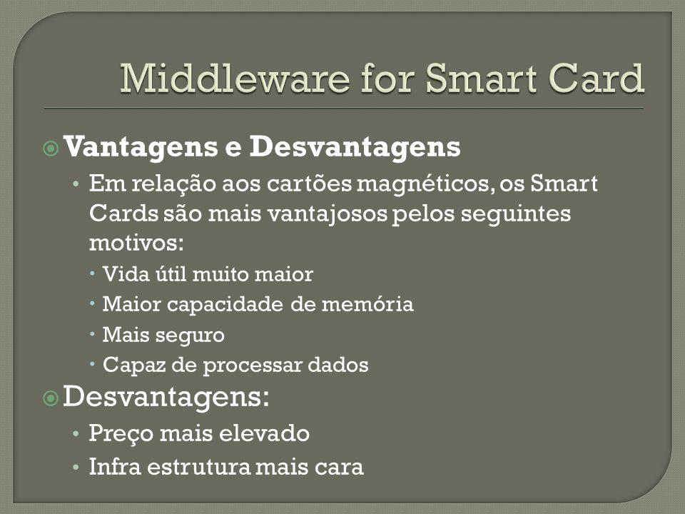 Vantagens e Desvantagens Em relação aos cartões magnéticos, os Smart Cards são mais vantajosos pelos seguintes motivos: Vida útil muito maior Maior ca