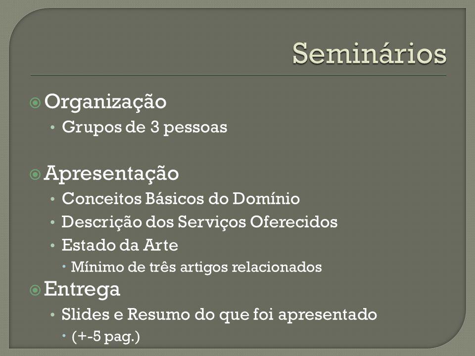Organização Grupos de 3 pessoas Apresentação Conceitos Básicos do Domínio Descrição dos Serviços Oferecidos Estado da Arte Mínimo de três artigos rela