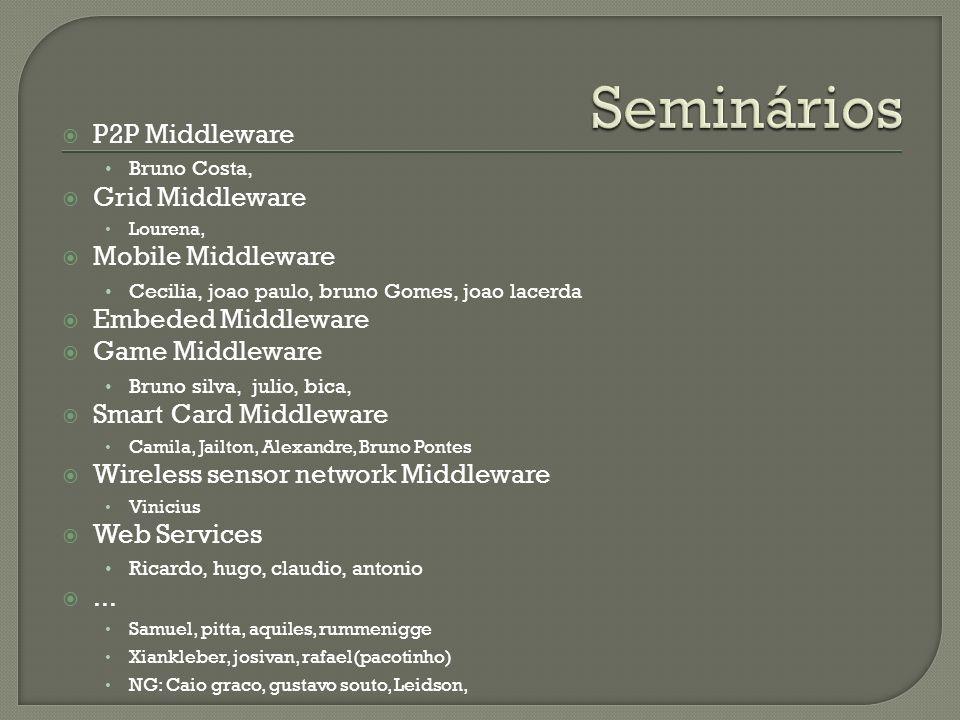 P2P Middleware Bruno Costa, Grid Middleware Lourena, Mobile Middleware Cecilia, joao paulo, bruno Gomes, joao lacerda Embeded Middleware Game Middlewa