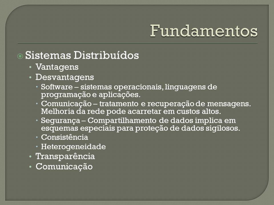 Sistemas Distribuídos Vantagens Desvantagens Software – sistemas operacionais, linguagens de programação e aplicações. Comunicação – tratamento e recu