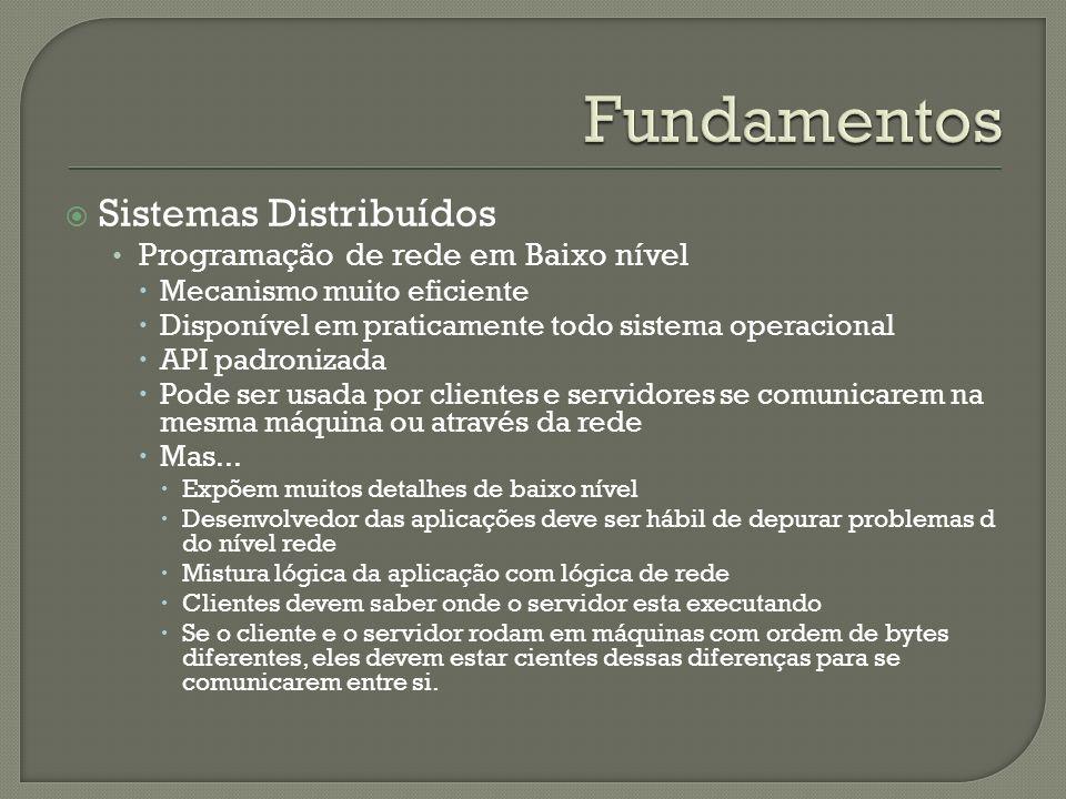 Sistemas Distribuídos Programação de rede em Baixo nível Mecanismo muito eficiente Disponível em praticamente todo sistema operacional API padronizada