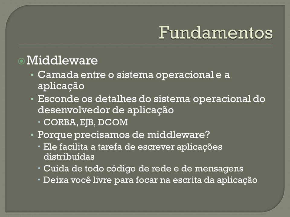 Middleware Camada entre o sistema operacional e a aplicação Esconde os detalhes do sistema operacional do desenvolvedor de aplicação CORBA, EJB, DCOM