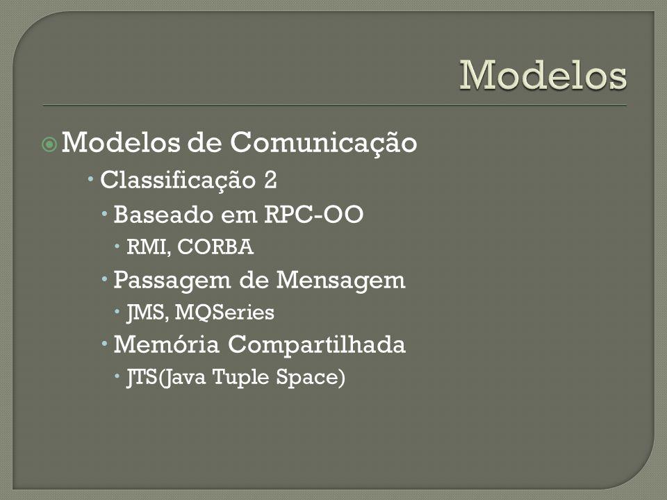 Modelos de Comunicação Classificação 2 Baseado em RPC-OO RMI, CORBA Passagem de Mensagem JMS, MQSeries Memória Compartilhada JTS(Java Tuple Space)