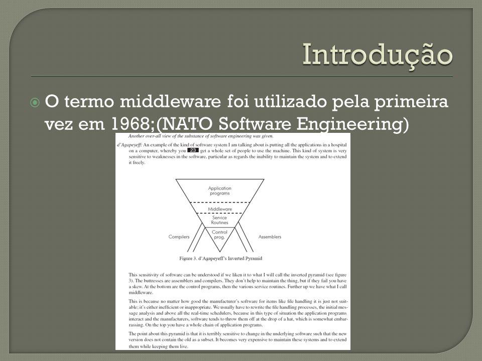 O termo middleware foi utilizado pela primeira vez em 1968;(NATO Software Engineering)