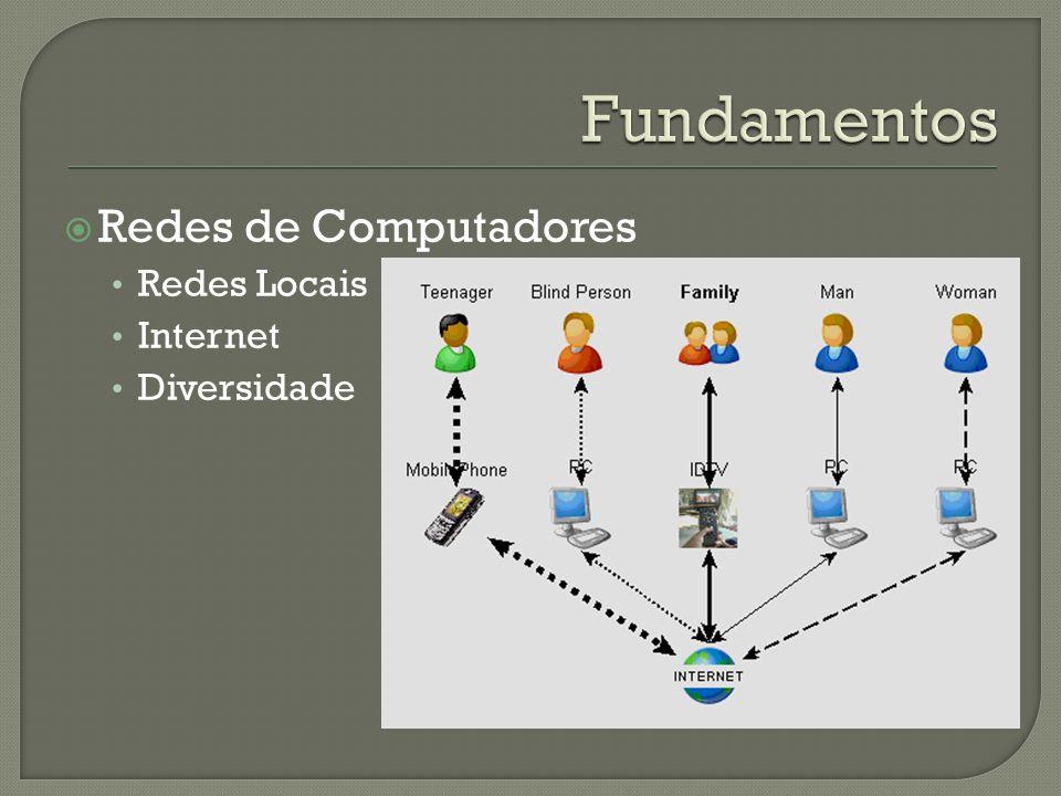 Redes de Computadores Redes Locais Internet Diversidade