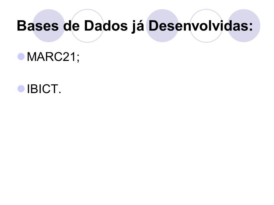 Bases de Dados já Desenvolvidas: MARC21; IBICT.
