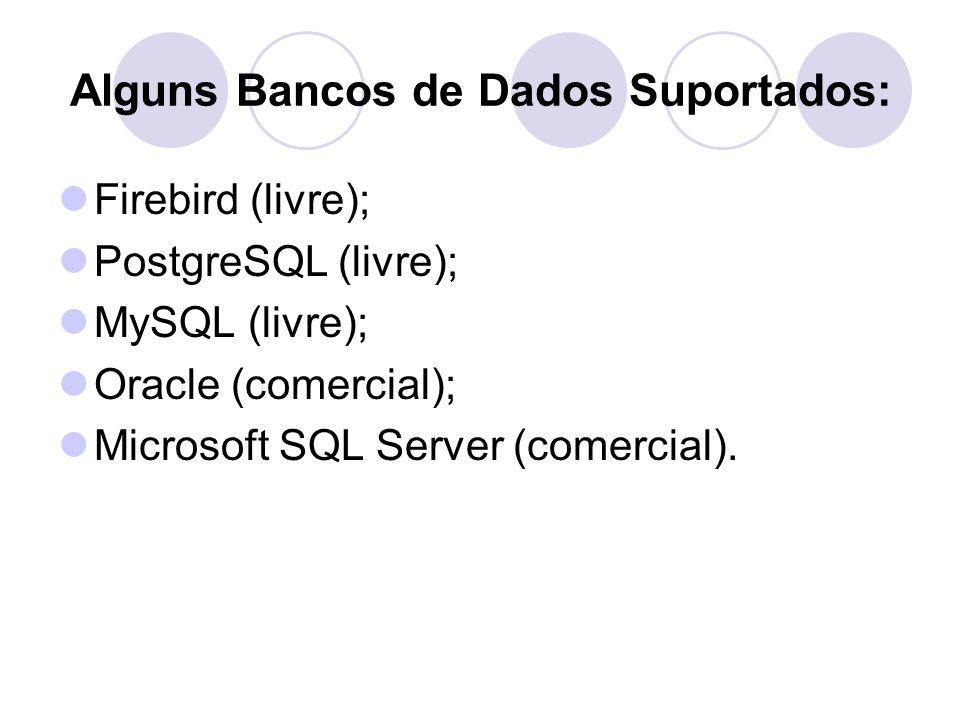Alguns Bancos de Dados Suportados: Firebird (livre); PostgreSQL (livre); MySQL (livre); Oracle (comercial); Microsoft SQL Server (comercial).