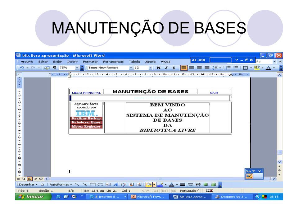 MANUTENÇÃO DE BASES