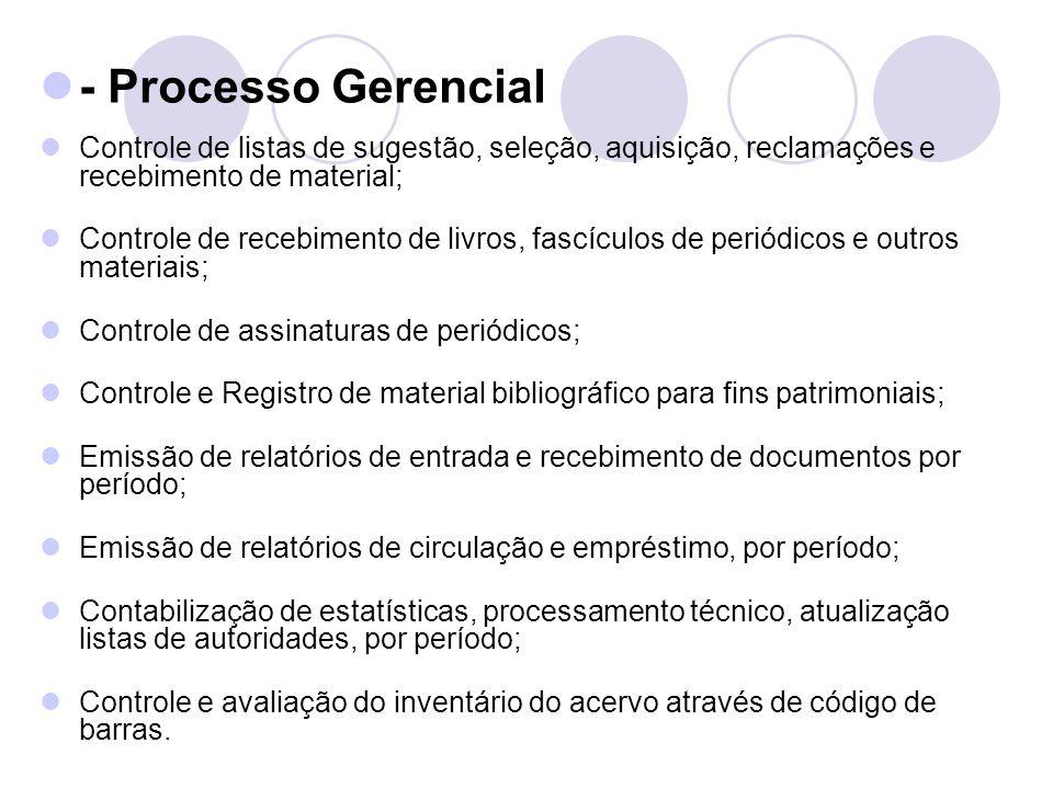 - Processo Gerencial Controle de listas de sugestão, seleção, aquisição, reclamações e recebimento de material; Controle de recebimento de livros, fas
